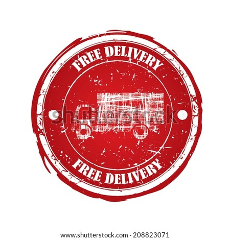 Free delivery  red rubber stamp with crown isolated on white background.