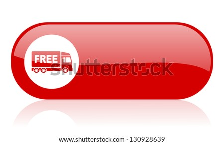 free delivery red web glossy icon - stock photo