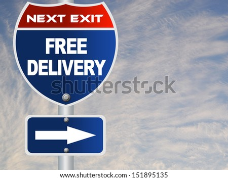 Free delivery road sign