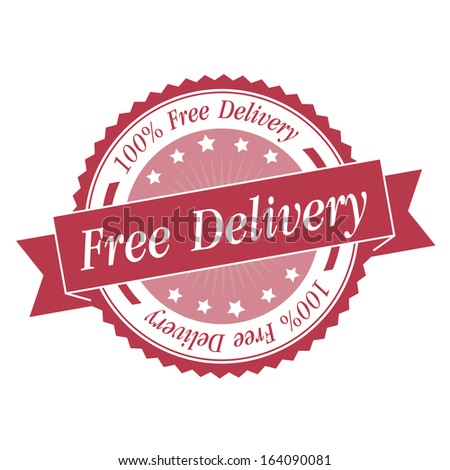 Free delivery stamp, sticker, tag, label, sign, icon with pink color.JPG - stock photo