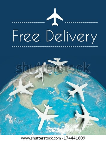 Free delivery transport concept, airplanes on globe - stock photo