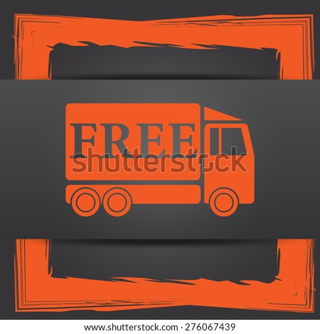 Free delivery truck icon. Internet button on grey background. - stock photo