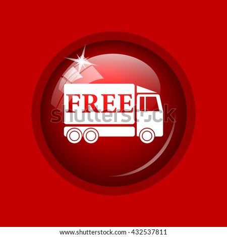 Free delivery truck icon. Internet button on red background. - stock photo