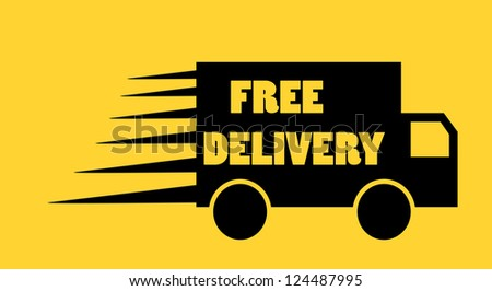 Free delivery truck icon on orange background - stock photo