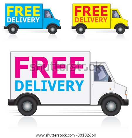 Free delivery van icons with male driver silhouette