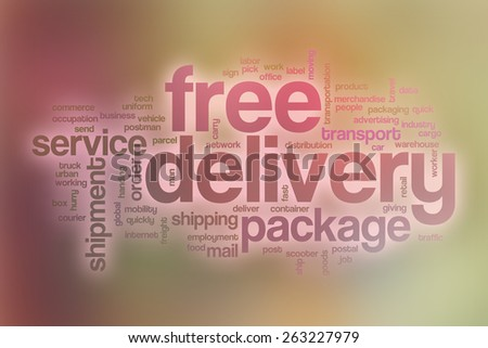 Free delivery word cloud concept with abstract background - stock photo