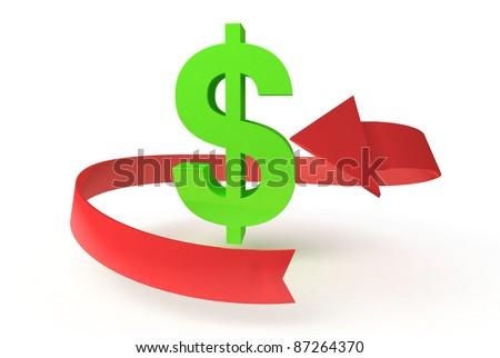 free dollar on white background - stock photo