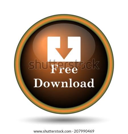 Free download icon. Internet button on white background.  - stock photo