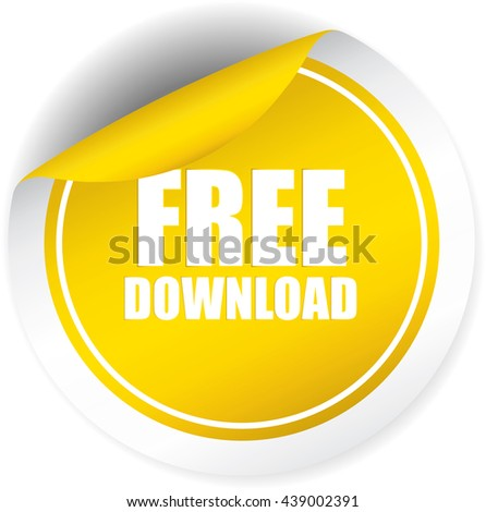 Free download yellow sticker, button, label and sign. - stock photo
