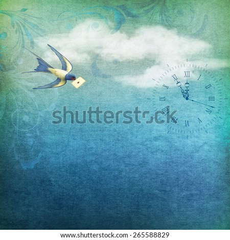 Free flying bird swallow with letter mail on a blue sky nature background with white clouds, clock, fabric texture - stock photo