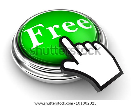 free green button and cursor hand on white background. clipping paths included - stock photo