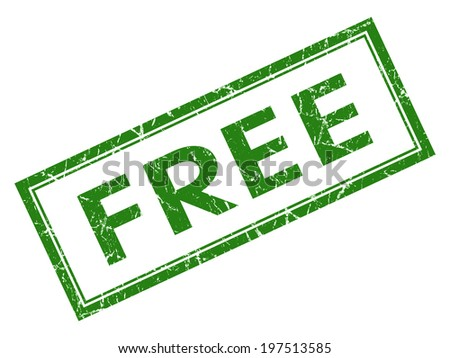 Free green square grungy stamp isolated on white background