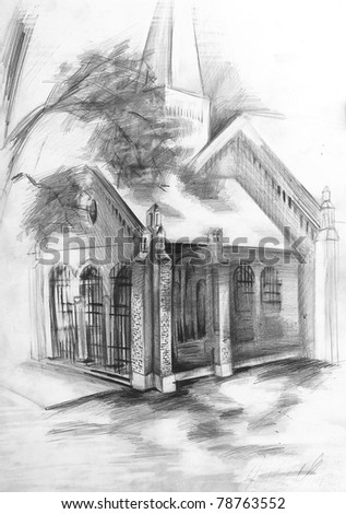 Free-hand drawing by pencil on paper. Church. - stock photo