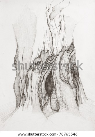 Free-hand drawing by pencil on paper. Tree with impressive bark. - stock photo