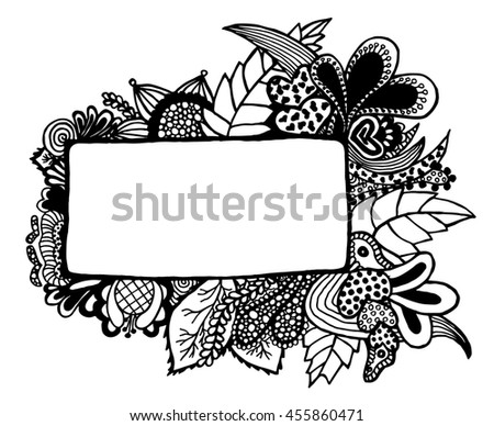 Free hand drawn border on white background. illustration. Hand drawn.