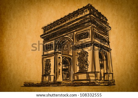 Free hand sketch collection:Arc de Triomphe, Paris, France on old paper texture