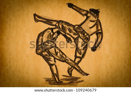Free hand sketch Thai Boxing Collection : Muay Thai martial art popular around the world. - stock photo