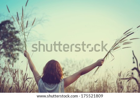 Free Happy Woman Enjoying Nature on the Field in Sunlight. Autumn. Glow Sun, Sunshine. Backlit. Toned in warm colors. - stock photo