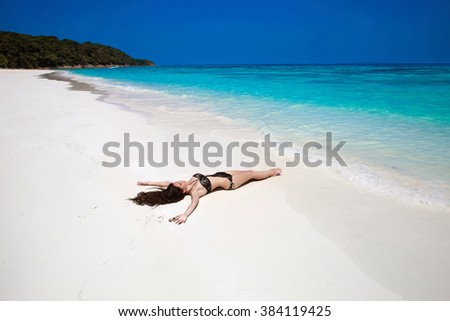 Free Happy Woman Enjoying tropical beach nature. Wellness. Travel. Summer outdoor portrait. Lifestyle. Bliss freedom concept.  - stock photo