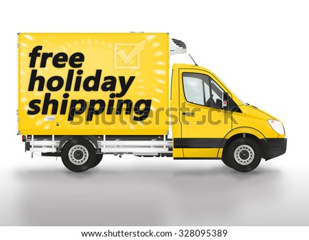 Free holiday shipping. Modern van on the white background. Raster illustration. - stock photo