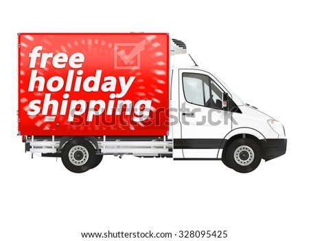 Free holiday shipping. Modern van on the white background. Raster illustration.
