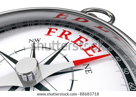 free indicated by conceptual compass on white background