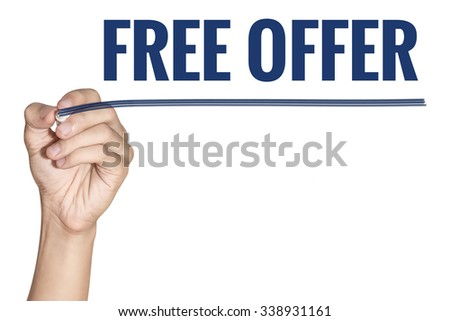 Free Offer word written by men hand holding blue highlighter pen with line on white background - stock photo