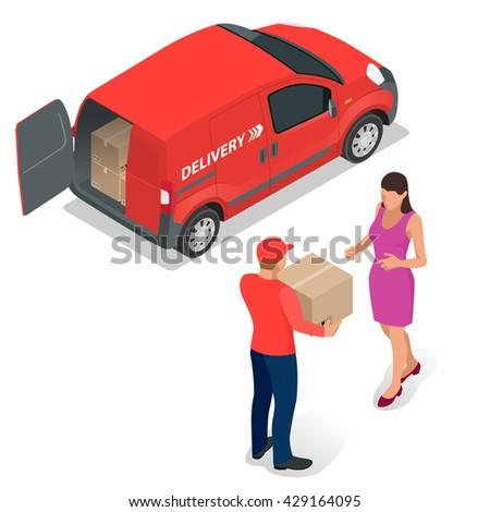 Free or Fast delivery. Delivery service worker in uniform delivering parcel to woman. Flat 3d isometric illustration - stock photo