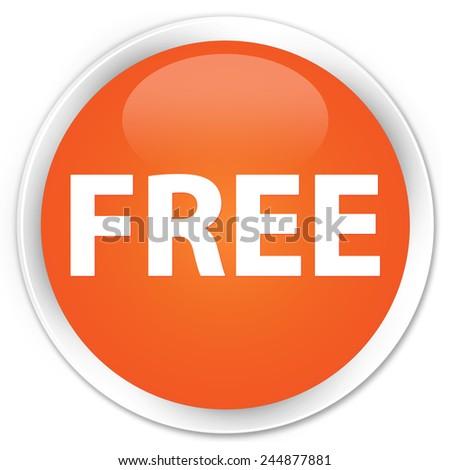 Free orange glossy round button - stock photo