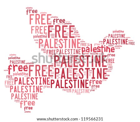 FREE PALESTINE cloud and arrangement collage - stock photo