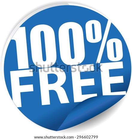 Free 100 percent text on blue sticker, label, sign and icon. - stock photo