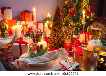 Free place at the Christmas table - stock photo