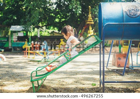 Free play in the playground for baby and toddler is important activity for child development.Baby can learn and enjoy the fresh air, explore sights and sounds and tests out her developing skills.