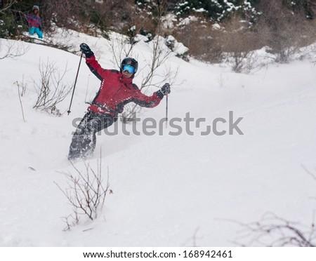 free ride ski on fresh snow - stock photo