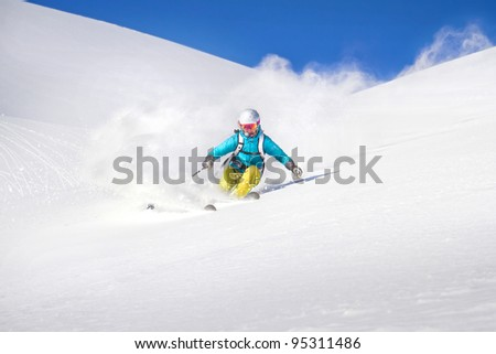 Free ride Skiing - stock photo