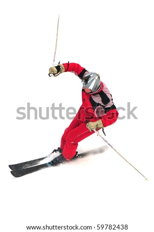 Free-rider skiing on the mountain isolated on white - stock photo