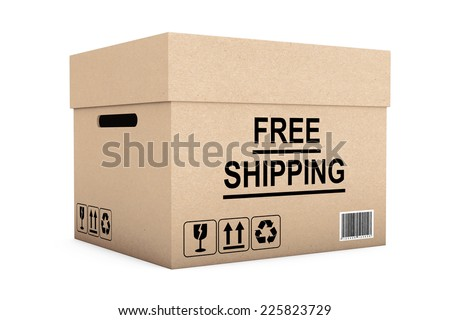 Free Shipping Box on a white background - stock photo