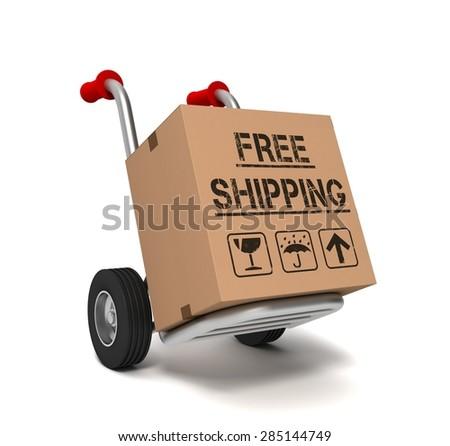free shipping cardboard box - stock photo