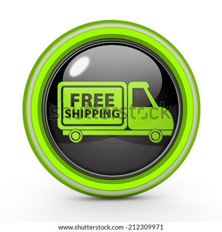 Free shipping circular icon on white background