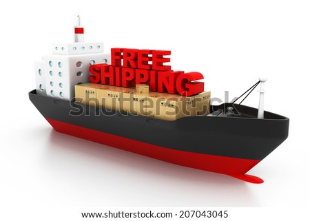 Free shipping concept, containers cargo ship - stock photo