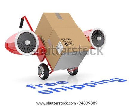 Free shipping concept. Hand truck and carboard boxes. - stock photo