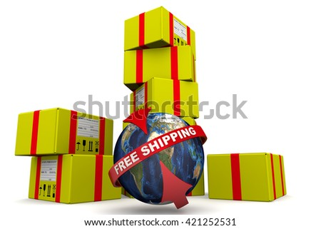 """Free shipping. Concept. Many of yellow parcels and a globe with inscription """"FREE SHIPPING"""" on a white surface. Isolated. 3D Illustration - stock photo"""