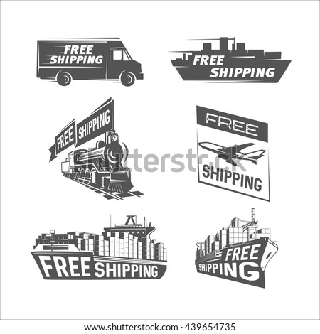 Free shipping design template. Shipping and international cargo shipping. - stock photo
