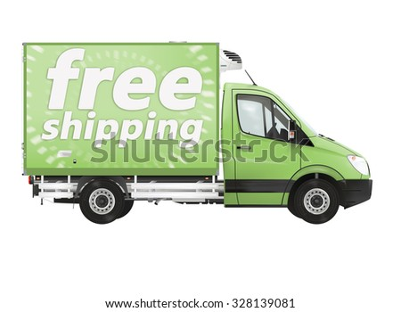 Free shipping. Modern van on the white background. Raster illustration.