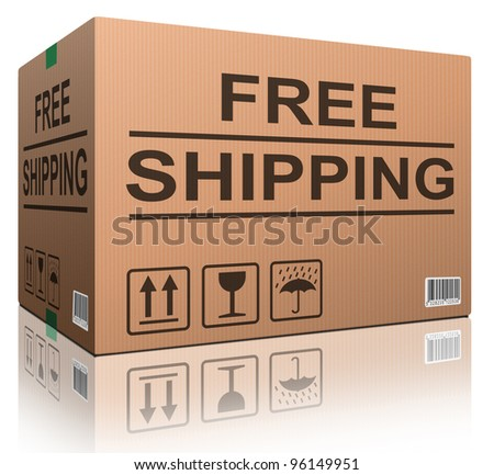 free shipping or delivery order web shop shipment in cardboard box icon for online shopping ecommerce button - stock photo
