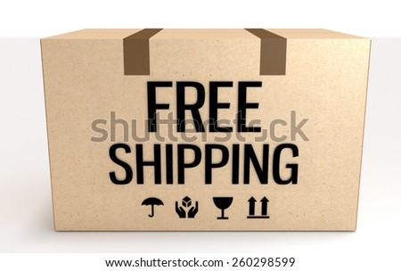 Free shipping package box isolated on white front view.