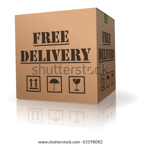 free shipping package free delivery cardboard parcel with text order shipment logistics after online shopping deliver packet cardboard box - stock photo