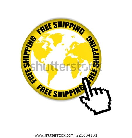 Free Shipping Retail Promotion With World Map Yellow Label And Sticker.