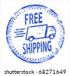 free shipping rubber stamp - stock vector
