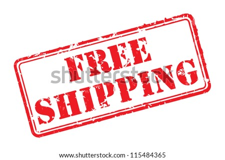 Free shipping rubber stamp vector illustration. Contains original brushes - stock photo
